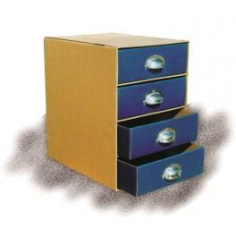 Συρταριέρα A4 με 4 χρωματιστά συρτάρια και μεταλλικές λαβές